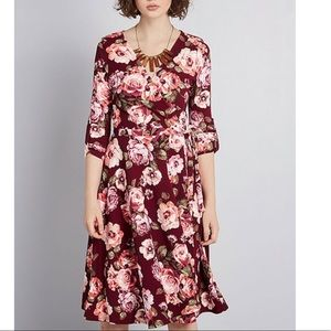 ModCloth Say Yes to Timeless Wine Floral Dress